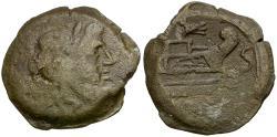 Ancient Coins - 206-195 BC - Roman Republic. Rostrum Tridens Series Æ Semis