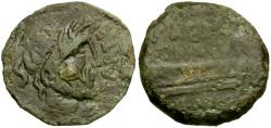 Ancient Coins - Spain. Carteia Æ Semis / Galley