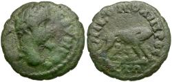 Ancient Coins - Septimius Severus (AD 193-211). Moesia Inferior. Nicopolis ad Istrum Æ16 / She Wolf and Twins