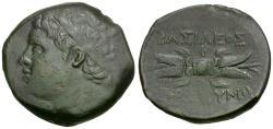 Ancient Coins - Sicily. Syracuse. Hieronymos (215-214 BC) Æ22 / Thunderbolt