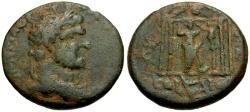 Ancient Coins - Caracalla, Phoenicia, Berytus Æ24 / Astarte in Temple