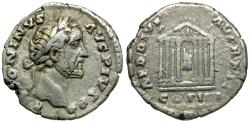 Ancient Coins - Antoninus Pius (AD 138-161) AR Denarius / Temple