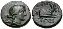 Ancient Coins - Thessaly. Magnetes Æ16 / Prow