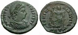 Ancient Coins - EF/EF Theodosius I Æ3 / Concordia seated