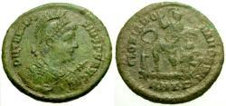 Ancient Coins - EF/VF Theodosius I Æ Maiorina / Emperor and Victory in galley