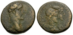 Ancient Coins - Antoninus Pius.  Phoenicia. Tripolis Æ22 / Dioscuri