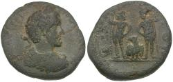 Ancient Coins - Antoninus Pius (AD 138-161). Judaea. Aelia Capitolina (Jerusalem) Æ22 / Dioscuri and Eagle