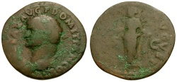 Ancient Coins - Domitian as Caesar Æ AS / Pax and Column