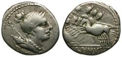 Ancient Coins - 96 BC - Roman Republic. A. Postumius S(p).f. Albinus AR Denarius / Three Horsemen