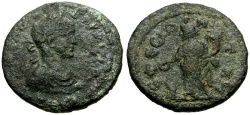 Ancient Coins - Gordian III, Ionia Ephesus Æ23 / Tyche Sacrificing