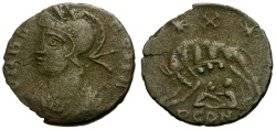 Ancient Coins - VF/VF VRBS Roma Constantinople Commemorative Issue Æ Half Unit / Wolf and Twins