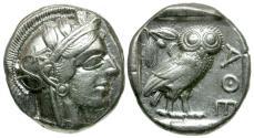 Ancient Coins - Attica. Athens AR Tetradrachm / Full Crest!