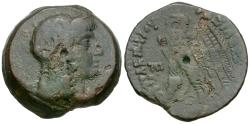 Ancient Coins - Ptolemaic Kings of Egypt. Ptolemy V Epiphanes (204-180 BC) with Cleopatra I Æ26 / Eagle