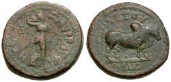 Ancient Coins - Ionia. Smyrna. Pseudo-autonomous Æ16 / Humped Bull