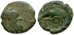 Ancient Coins - Islands of Lesbos. Pordoselene Æ8 / Dolphin