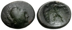 Ancient Coins - Thessaly.  Lamia. The Maliens Æ14 / Athena and Philoktetes