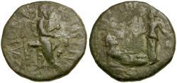 Ancient Coins - Thrace. Bizya. Pseudo-Autonomous Issue Æ23  / Tyche and River God