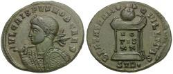 Ancient Coins - Crispus, Caesar Æ3 / Globe on Altar
