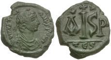 Ancient Coins - *Sear 182A* Byzantine Empire* Justinian I (AD 527-562) Æ 16 Nummi