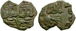 Ancient Coins - *Sear 1569* Byzantine Empire. Constantine V Copronymus Æ Follis / Constantine V and Leo IV