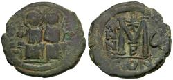 Ancient Coins - *Sear 360* Byzantine Empire. Justin II (AD 565-578) with Sophia Æ Follis