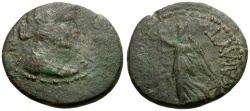 Ancient Coins - Macedon.  Thessalonica.  Mark Antony Æ25 / Eleutheria and Nike