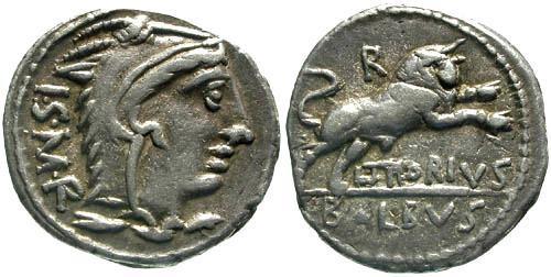 Ancient Coins - 105 BC / VF/VF Thoria 1 Roman Republic Denarius / Bull charging