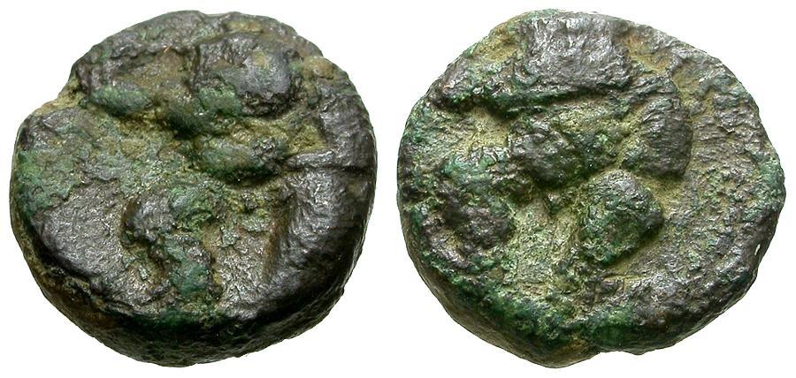 Ancient Coins - Islands off Spain.  Ebusus Æ 1/8 Calco / Kabeiros