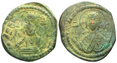 Ancient Coins - F/VF Anonymous Class G AE Follis / Christ and Mary