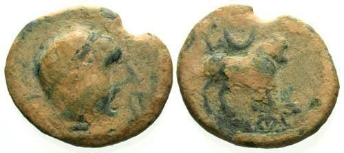Ancient Coins - aVF/aVF Ae Semis of Castulo Spain / Bull