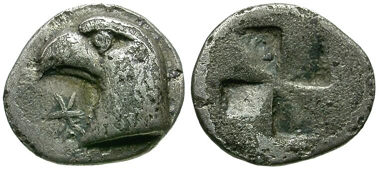 Ancient Coins - Aeolis. Kyme AR Hemiobol / Eagle's head