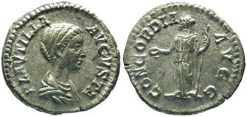 Ancient Coins - VF/VF Plautilla Denarius / Concordia