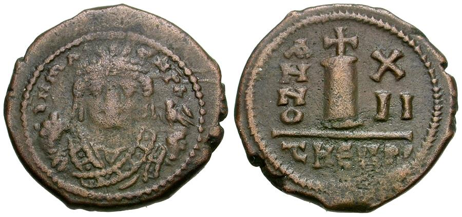 Ancient Coins - *Sear 537* Byzantine Empire. Maurice Tiberius (AD 582-602) Æ Decanummium