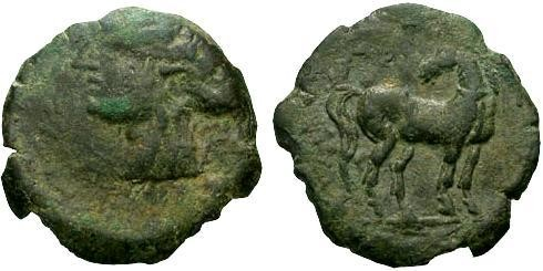 Ancient Coins - F/EF Zeugitania Carthage Time of the Second Punic War / High Art Horse
