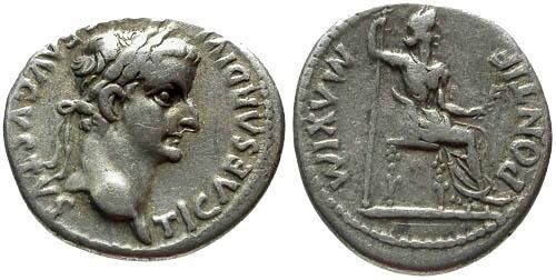 Ancient Coins - VF/aVF Tiberius Denarius / Tribute Penny of the Bible