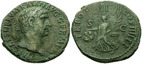 Ancient Coins - VF/VF Trajan AE As / Victory