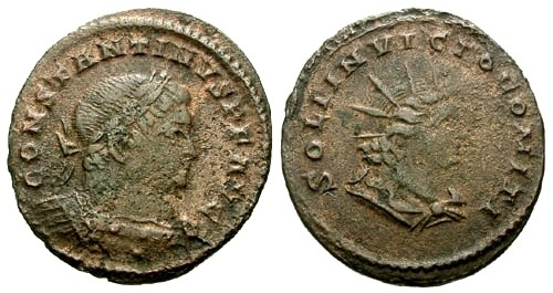 Ancient Coins - aVF/aVF Constantine I the Great AE Follis / Bust of Sol
