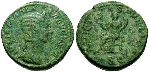 Ancient Coins - aVF/aVF Julia Mamaea AE Sestertius / Felicitas