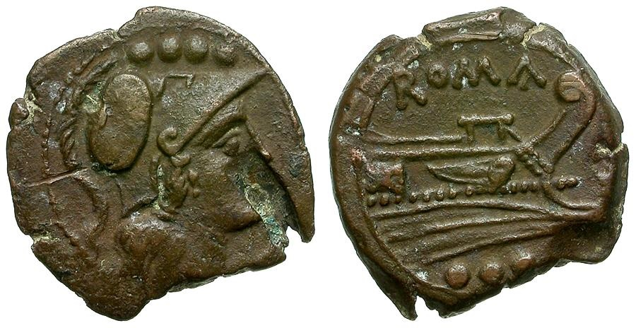 Ancient Coins - 211 BC - Roman Republic. Sardinia mint Æ Triens