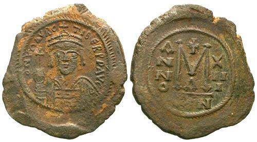 Ancient Coins - VF/VF Mauriuce Tiberius AE Follis / Nice Portrait and Full Legend