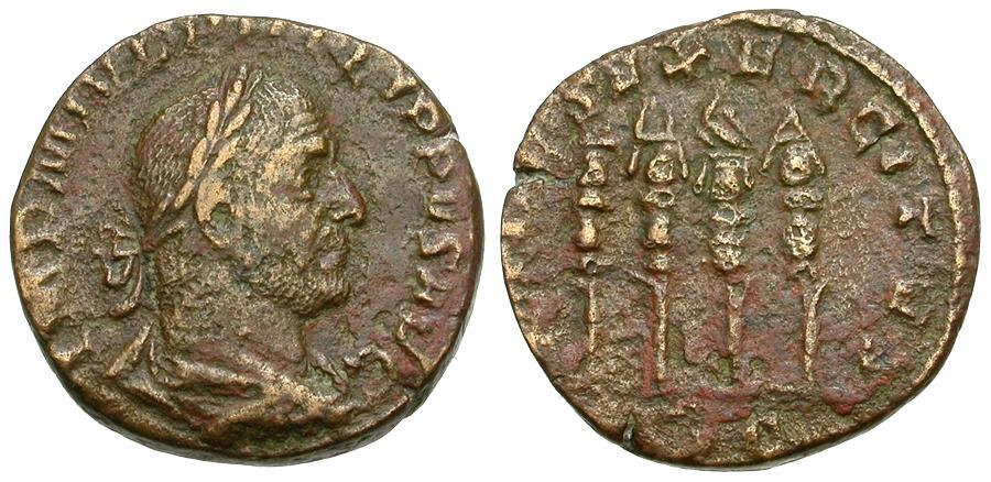 Ancient Coins - Philip I (AD 244-249) Æ Sestertius / Four Standards