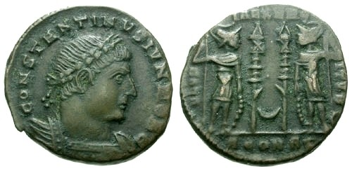 Ancient Coins - VF/VF Constantine II AE3 / Two soldiers