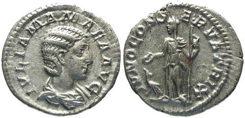 Ancient Coins - VF/VF Julia Mamaea Denarius / Juno