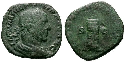 Ancient Coins - aVF/gF+ Philip I AE Sestertius / Cippus