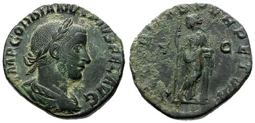 Ancient Coins - EF/VF Gordian III AE Sestertius / Securitas Perpetua