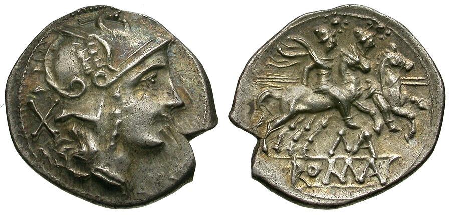 Ancient Coins - 199-170 BC - Roman Republic. Anonymous MA Series AR Denarius / Dioscuri