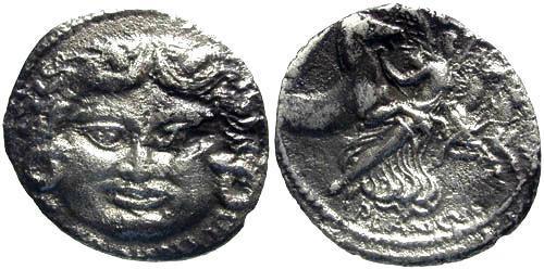 Ancient Coins - 47 BC / aVF/aVF Plautia 14 Roman Republic Denarius / Mask of Medusa / Aurora