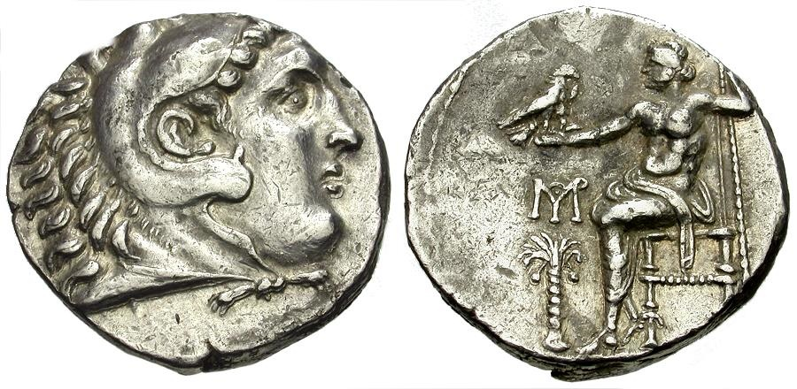 Ancient Coins - Kings of Macedon.  Alexander III The Great. Marathus mint AR Tetradrachm / Palm Tree