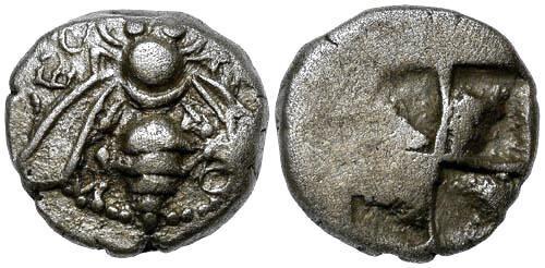 Ancient Coins - VFVF Ionia Ephesos AR Drachm / Bee
