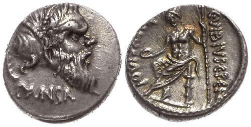 Ancient Coins - 48 BC EF/EF Vibia 19 Roman Republic AR Denarius of C. Vibius Pansa; Mask of Pan